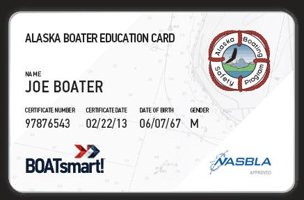 BOATsmart! Alaska boater education card with NASBLA approved badge.