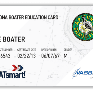 BOATsmart! Arizona boater education card with NASBLA approved badge.
