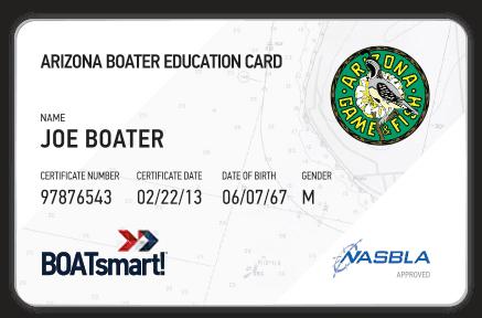 BOATsmart! Arizona boater education card with NASBLA approved badge.