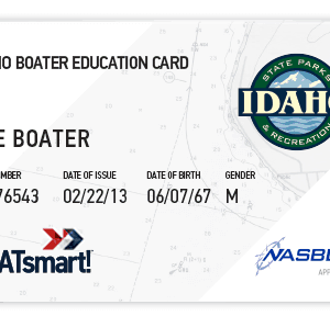 BOATsmart! Idaho boater education card with NASBLA approved badge.
