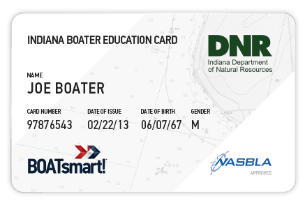 BOATsmart! Indiana boater education card with NASBLA approved badge.