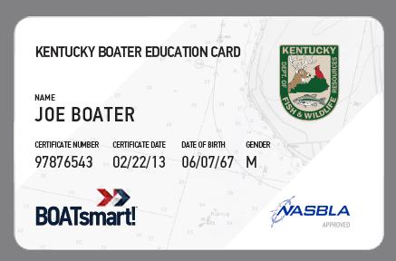 BOATsmart! Kentucky boater education card with NASBLA approved logo.