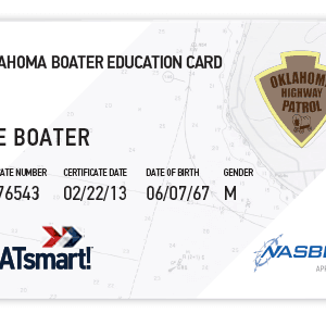 BOATsmart! Oklahoma boater education card with NASBLA approved logo.