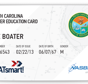 BOATsmart! South Carolina boater education card with NASBLA approved logo.