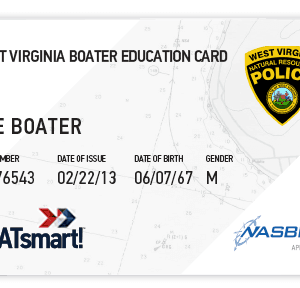 BOATsmart! West Virginia boater education card with NASBLA approved logo.