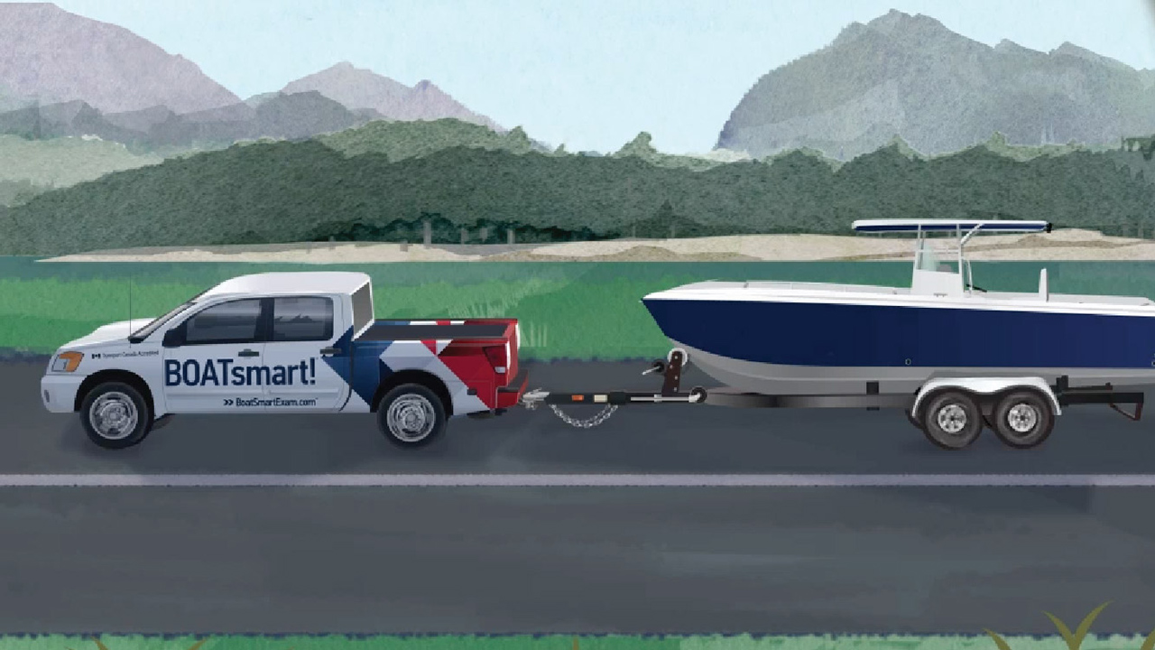 BOATsmart! Nissan Titan towing boat on trailer. Illustration.