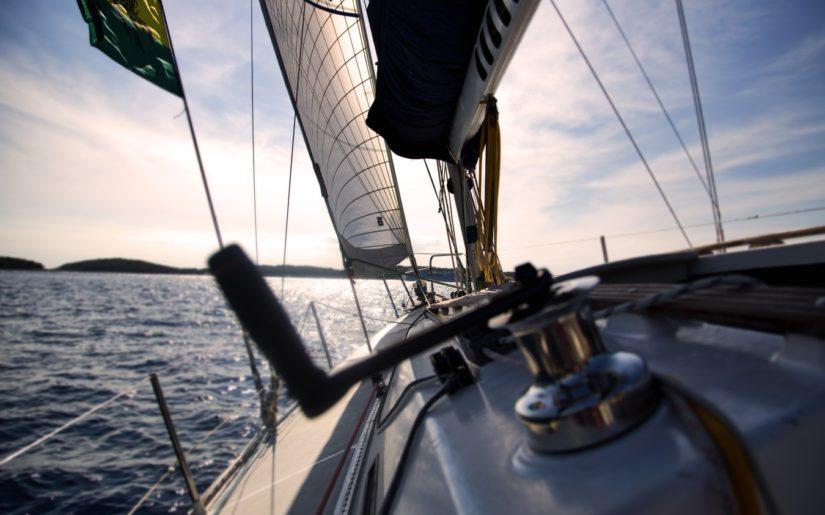 Close-up shot of a sailboat main sail winch.