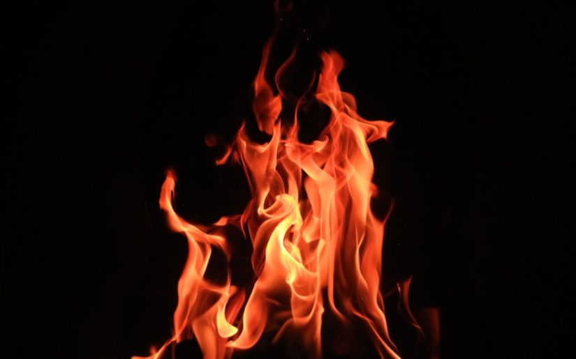Close-up shot of orange flames from a campfire.