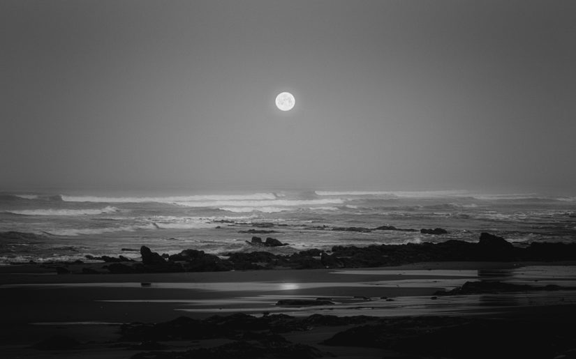 Black and white photo of moon on the horizon over an ocean beach.