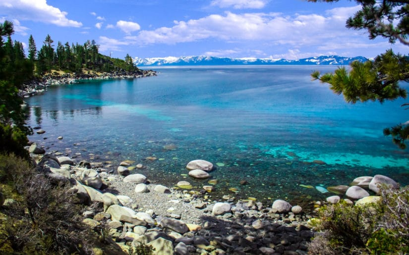 Views from the shore of Lake Tahoe, Nevada.